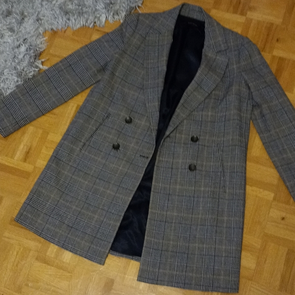 Zara long houndstooth blazer